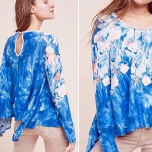 Anthro meadow rue blue floral linen fields shirt